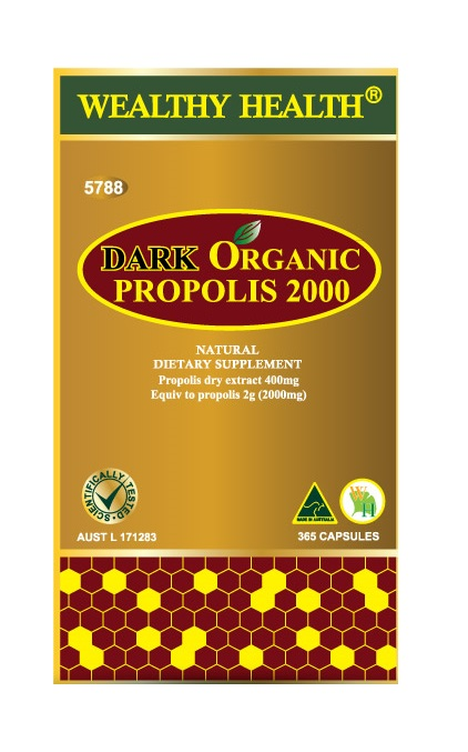 Wealthy Health Dark Organic Propolis 2000 365 Capsules