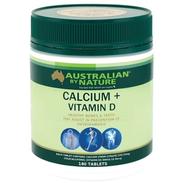 Australian By Nature-Calcium + Vitamin D 180 Tablets