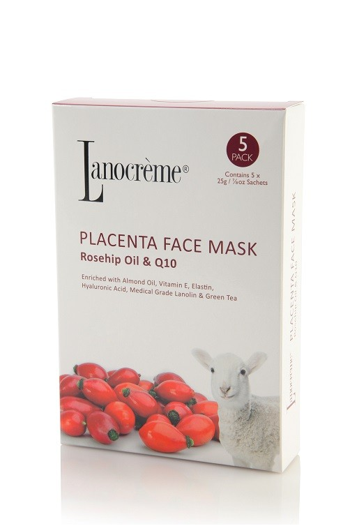 Lanocreme-Placenta Face Mask Rosehip Oil & Q10 5 Pack