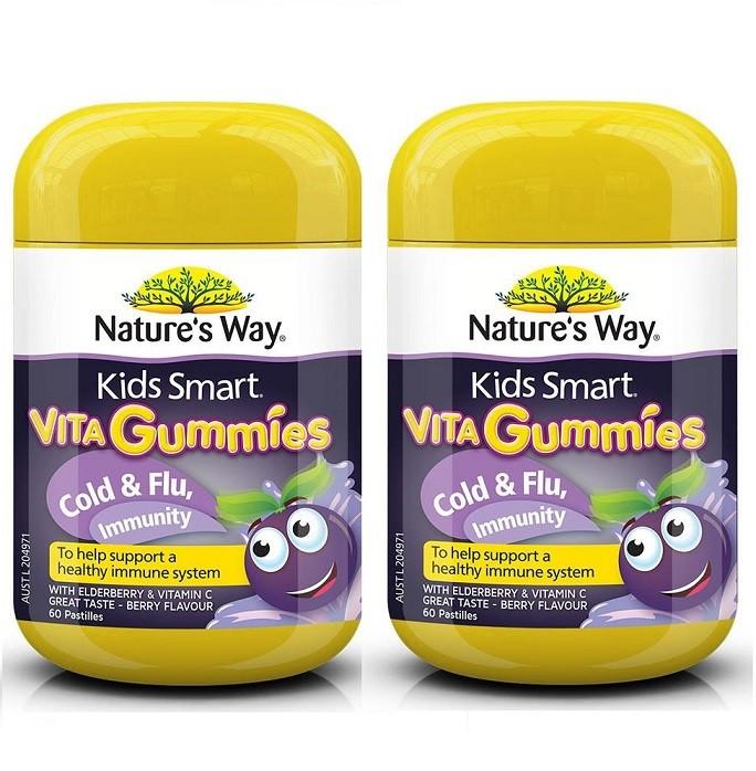 Nature's Way-Kids Smart Vita Gummies Cold & Flu Immunity 60 Pastilles 2x TWIN PACK